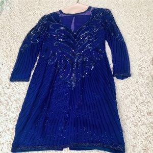 Vintage Beaded Royal Blue Long Sleeve Dress